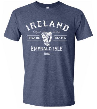 1916 Irish Harp T-Shirt-Blue