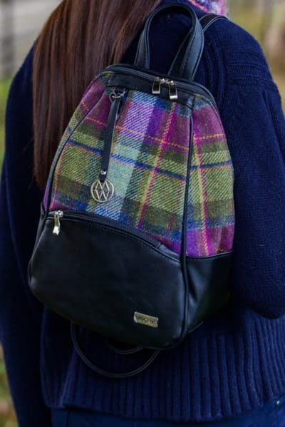 Irish Tweed & Leather Colleen Backpack-Multi-color plaid