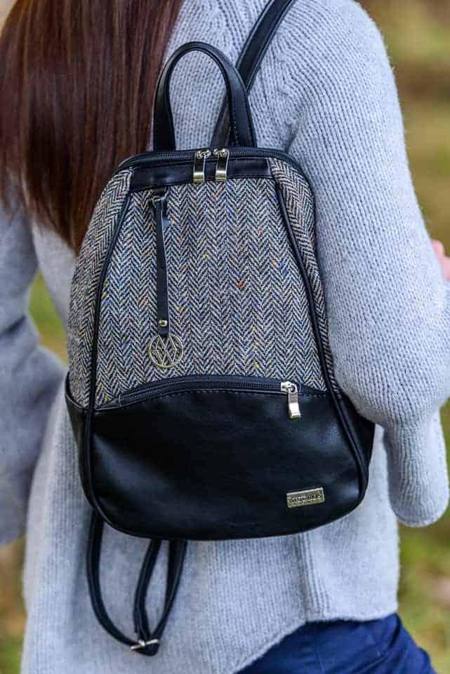 Colleen Backpack Gray Herringbone