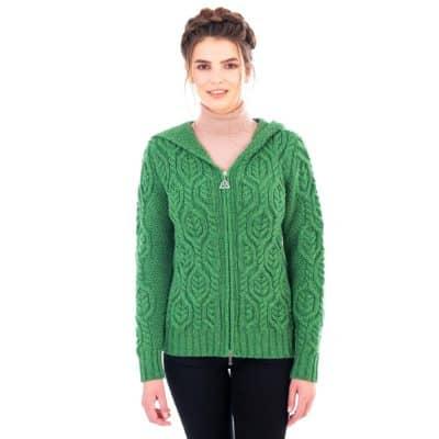 Women's Irish Hooded Cable Knit Cardigan