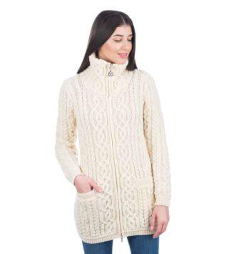 Women's Irish Full Zip Cardigan - Merino Wool