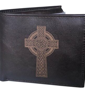 Leather Wallet for Men, Celtic Cross, 100% Real Leather.