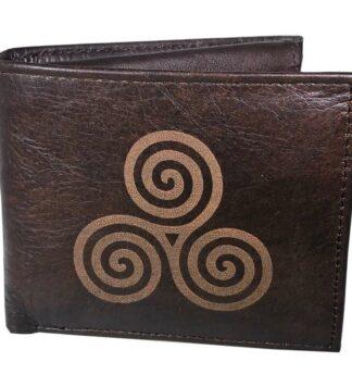 Leather wallet for men, Celtic Spiral design. 100% Real Leather.