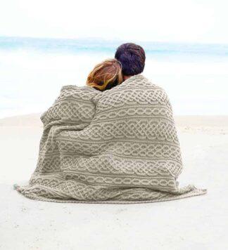 Aran Irish Wool Throw Blanket