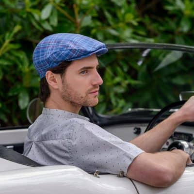 Irish Linen Newsboy Cap-Blue Plaid