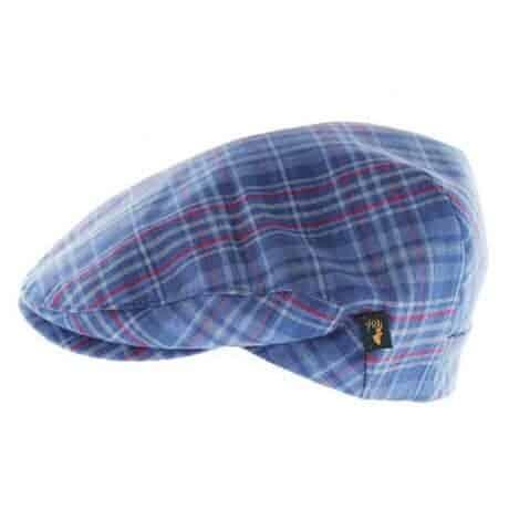 Blue Plaid Linen Hat