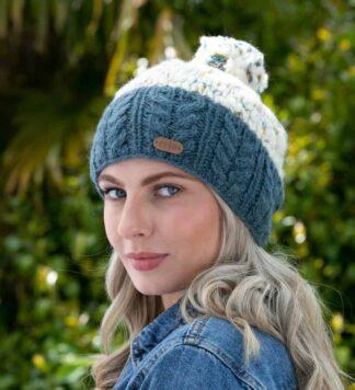 Irish Cable Knit Bobble Hat Denim Blue
