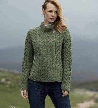 Women's Luxury 3 Button Wool Sweater – Green