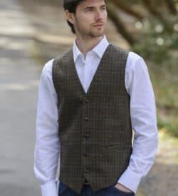 Men's Irish Tweed Vest Donegal Green