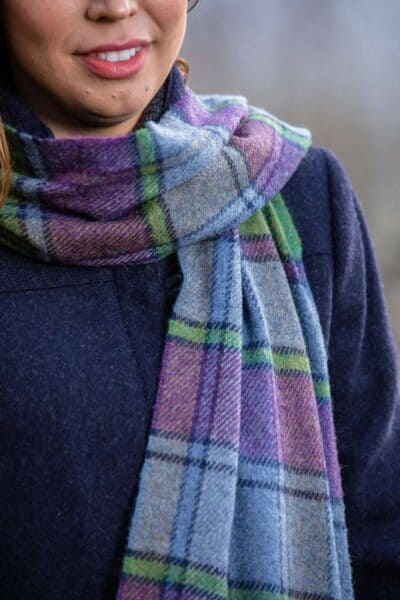Irish Wool Heritage Scarf-Purple/Green Block Check