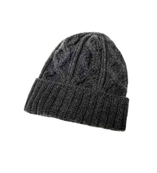 Diamond Cable Knit Hat - Gray