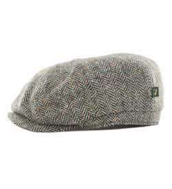Irish Tweed Gatsby Cap-Gray Herringbone