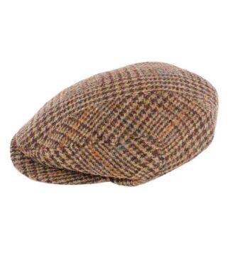 Traditional Irish Wool Kerry Cap - Brown Check