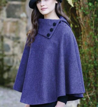 Ladies Classic Irish Wool Poncho - Purple