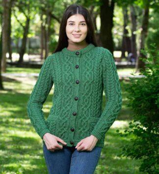 Ladies Merion Wool Cardigan-Green