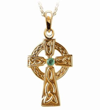 Gold Celtic Cross with Emerald