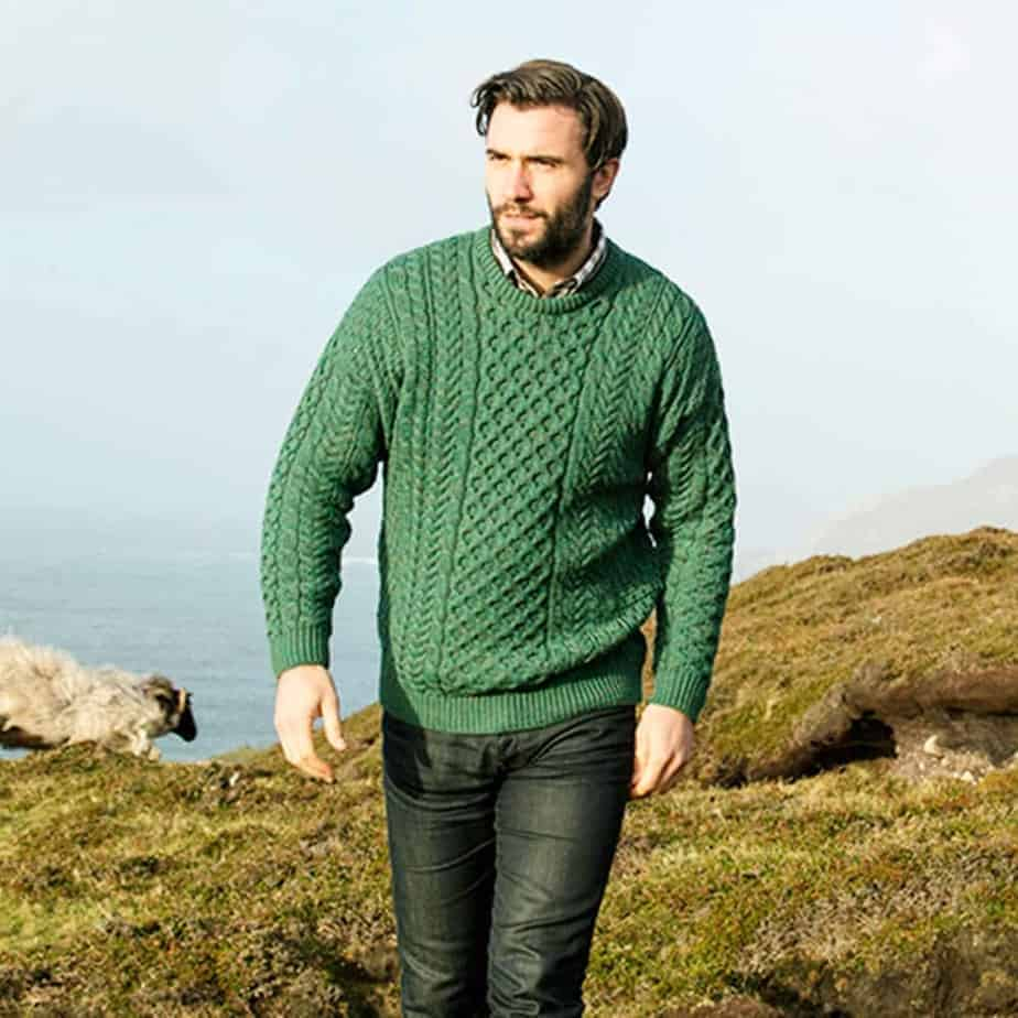Irish Wool Sweater For Men Green Made In Ireland 100 Irish Wool