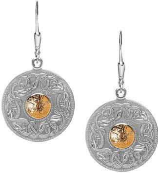 Silver Celtic Earrings - Gold Bead