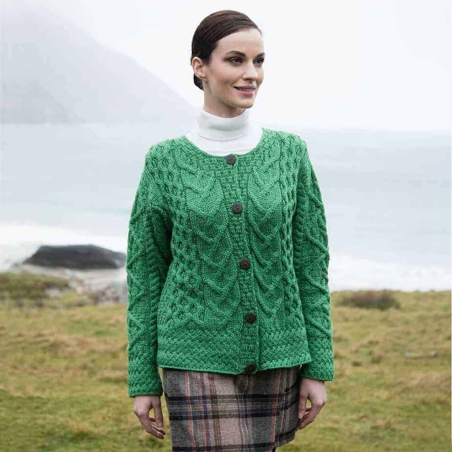 Green Ladies Wool Sweater - Cardigan 1649946c5